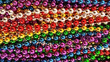 Festive Metallic Beaded Necklaces Red, Blue, Silver, Green, Gold, Purple, 144 Piece Pack Dondor