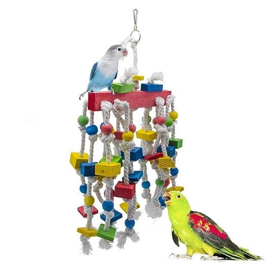 TIKEN Bird Block Toys con Campanas para Loros Medianos Y Pájaros ...