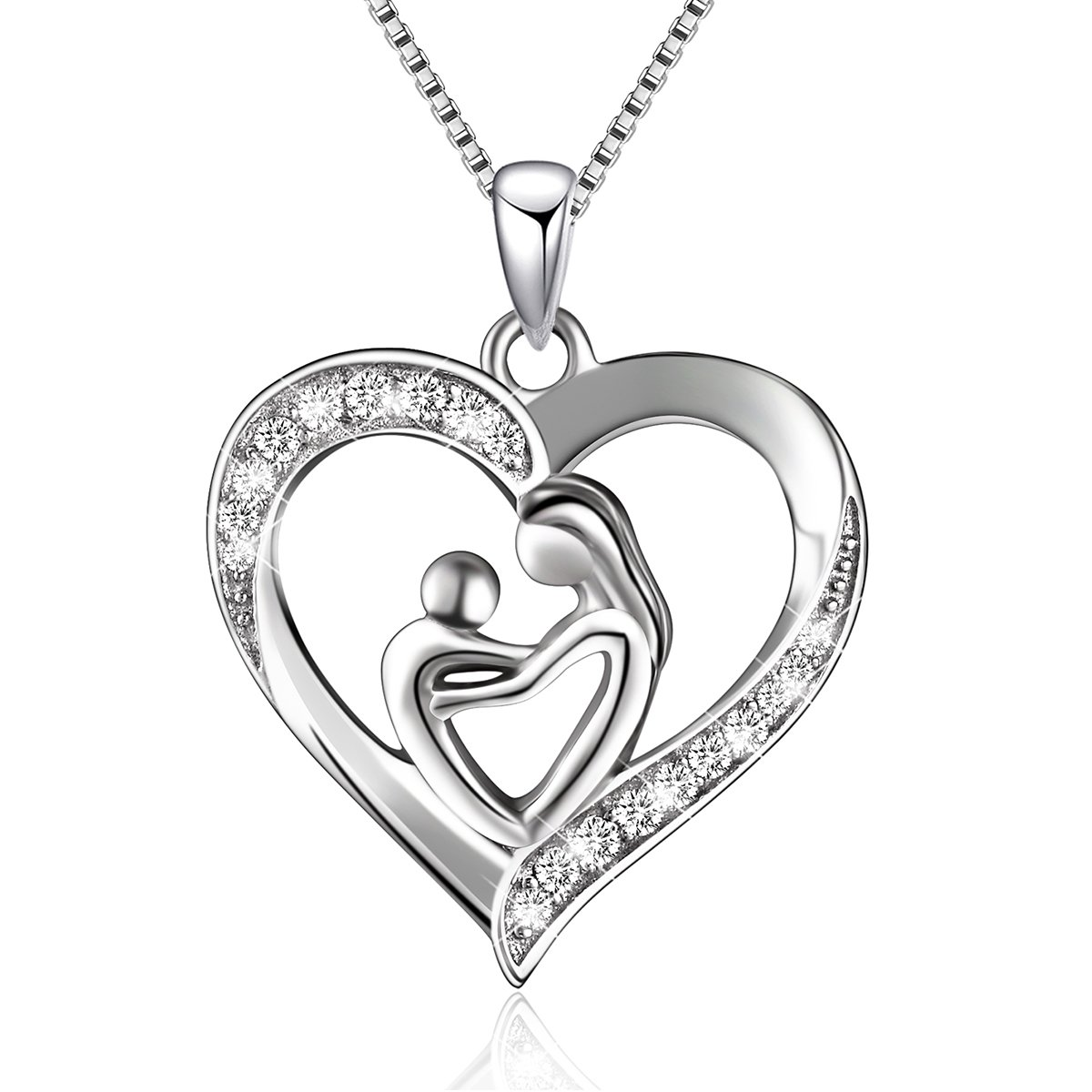 Sterling Silver Mother and Child Love Heart Pendant Necklace, Box chain 18' Box chain 18' BLOVIN JEWELRY HZ50706