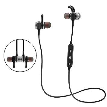 Bluetooth auriculares? Auriculares Bluetooth 4.1 estéreo inalámbrico magnético ajuste seguro para gimnasio, resistente al
