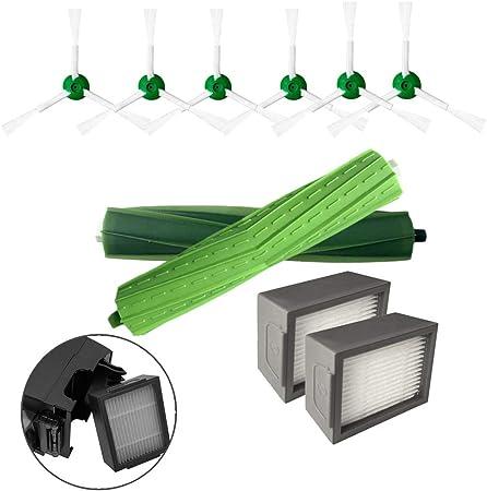 Maxpex 6 Cepillo Lateral + 2 filtros + 1 Cepillo de Rodillo de Accesorios de Robot Aspirador Inteligente de Carga, aspira y friega, Barredora de Limpieza de Suelos,Compatible para irobot Roomba i7/i7: