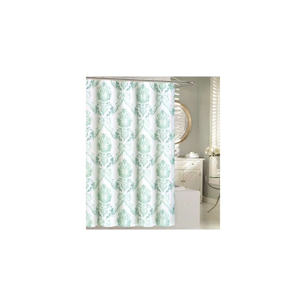 Tahari Home Fabric Shower Curtain Chinoisserie Damask Paisley Scroll Medallion Turquoise Aqua SPA Blue on White 72 x 72 SPA Blue on White 72 x 72