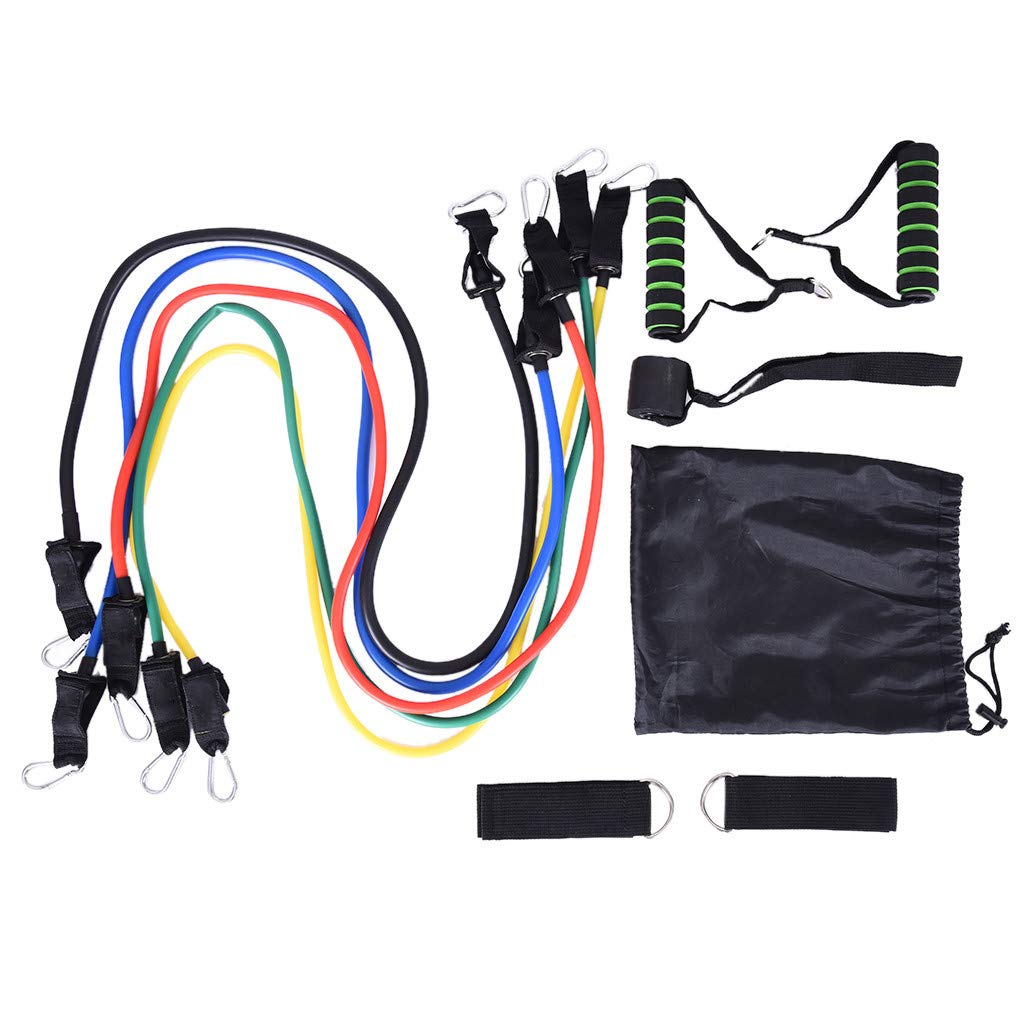 CreazyBee 11-Piece Resistance Band Pull Rope Elastic Rope Fitness Rally Puller Set (Black) by CreazyBee