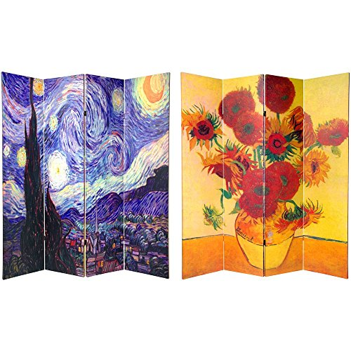 Oriental Furniture 6 Ft  Tall Double Sided Works Of Van Gogh Canvas Room Divider 4 Panel