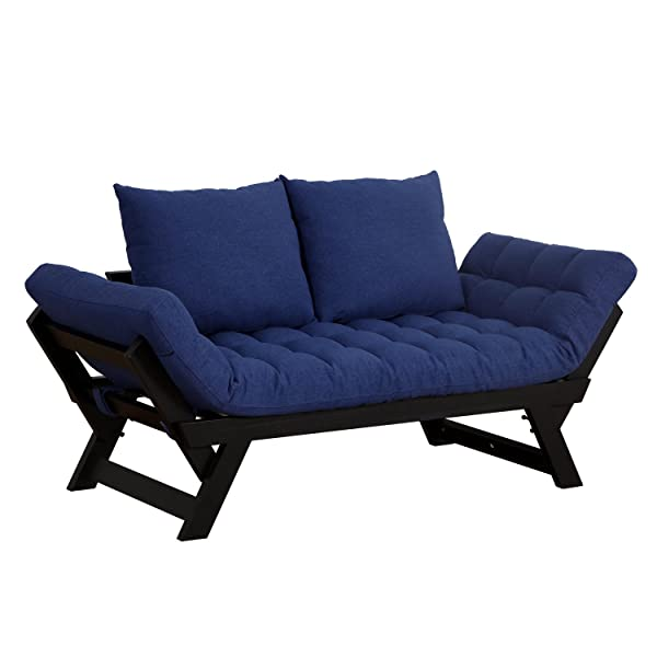 HOMCOM 3 Position Convertible Chaise Lounge Sofa Bed - Black/Dark Blue