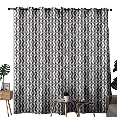 duommhome Geometric Bedroom windproofcurtain Herringbone Zigzags Stacked Cubes Pattern Greyscale Illustration Privacy Protection W84 x L96 Black Grey and Pale Grey
