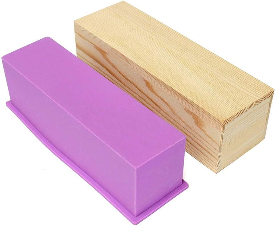 B/&S FEEL Flexible Rectangular Soap Silicone Mold with Wood Box for Homemade 42oz Soap Produce