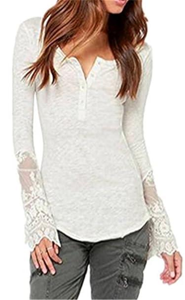 Mujeres Blusas De Encaje Flores Lace Crochet Camisas Camisetas Manga Larga Encaje T Shirt TÚNica Tops