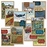 Vintage Travel Birthday Greeting Cards Value Pack - Set of 20 (10 designs), Large 5'' x 7'', Happy Birthday Cards with Sentiments Inside
