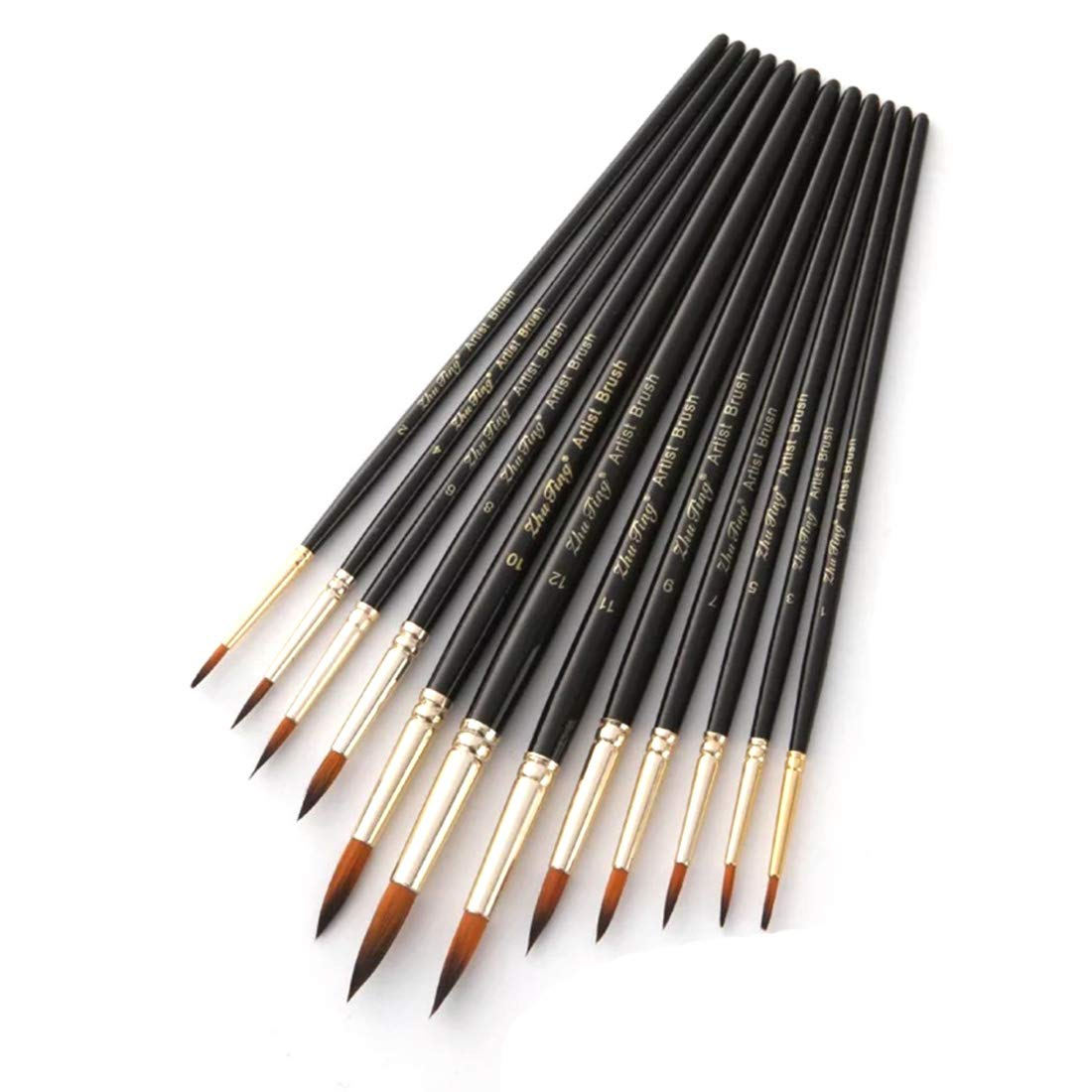 Acrylic Oil Watercolor Paint Brushes, Art Face and Body Professional Painting Kits, Anti-Shedding Synthetic Nylon Tips Paintbrushes, 12 Pieces (Black) by longkin