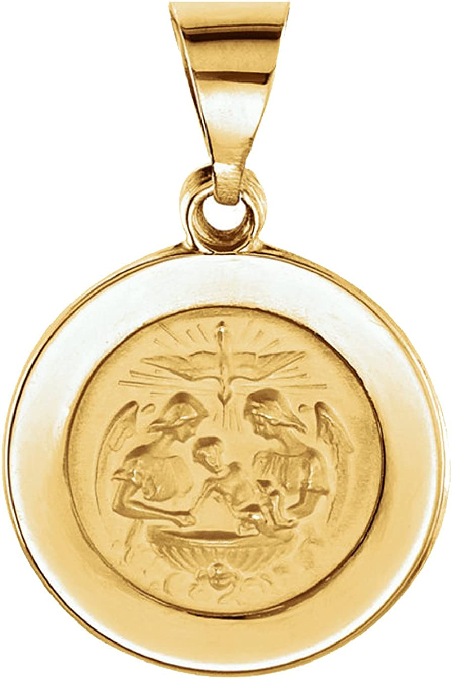 Precious Gem Jewellers 14k Two Tone Gold Baptism with Virgin Mary Medal Pendant
