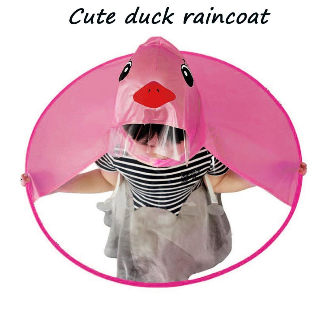 Hot Sale Clearance Creative Cute Duck UFO Children Umbrella Hat Waterproof Hands Free Umbrella Rain Hat Headwear Cap Raincoat for Kid Child (M, Yellow) WYTong raincoat-01