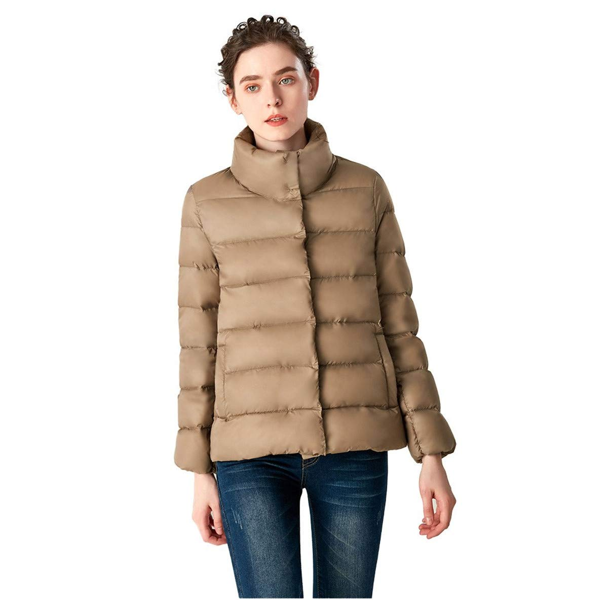 Thenxin Womens Winter Warm Short Down Jacket Stylish Lapel Lightweight Puffer Coats(Khaki,XXL) by Thenxin