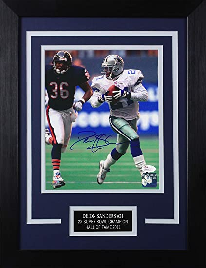 7b72552f5 Deion Sanders Autographed Cowboys Photo - Beautifully Matted and Framed -  Hand Signed By Deion Sanders