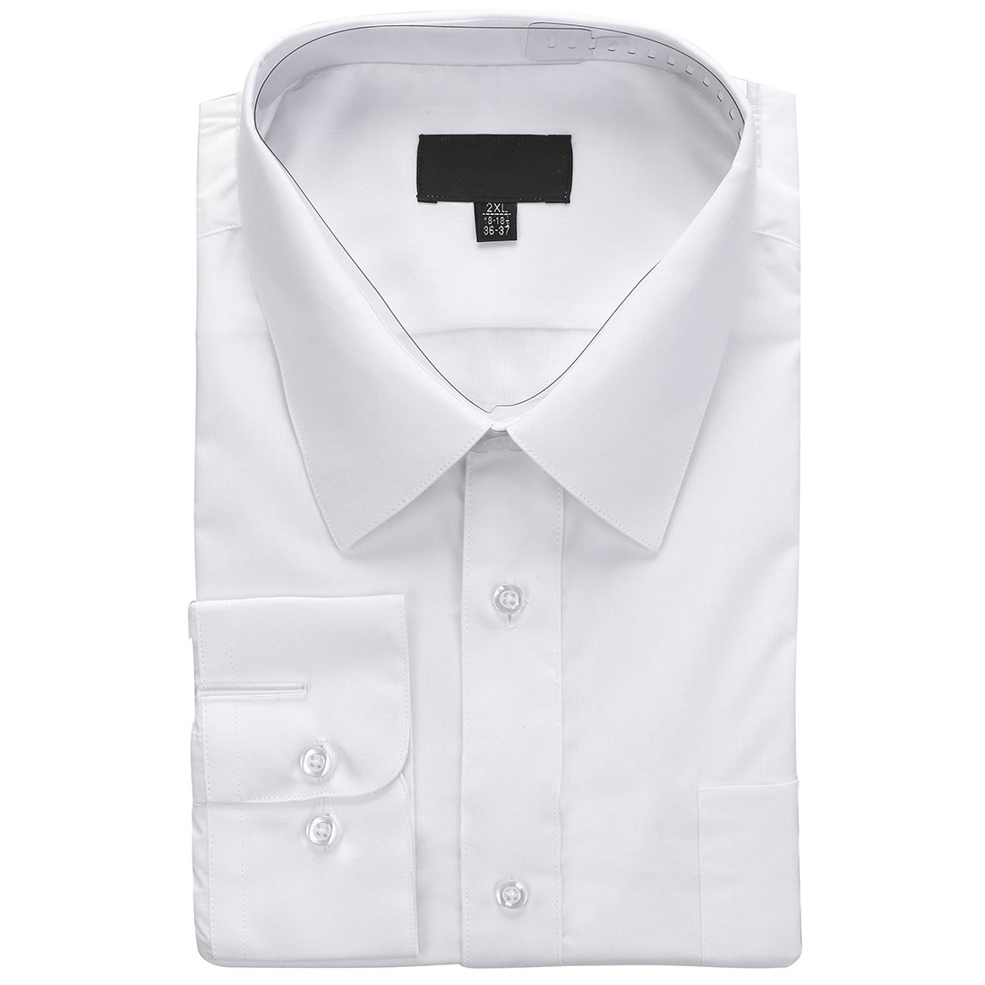 Men's business casual solid long sleeve dress shirts, White, M