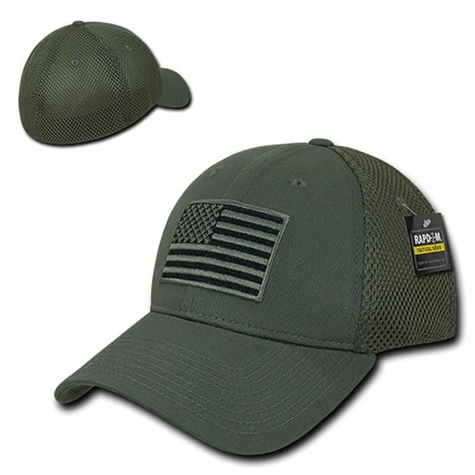 a42592aa19656 USA US American Flag Tactical Operator Mesh Flex Baseball Fit Hat Cap -  Black at Amazon Men s Clothing store
