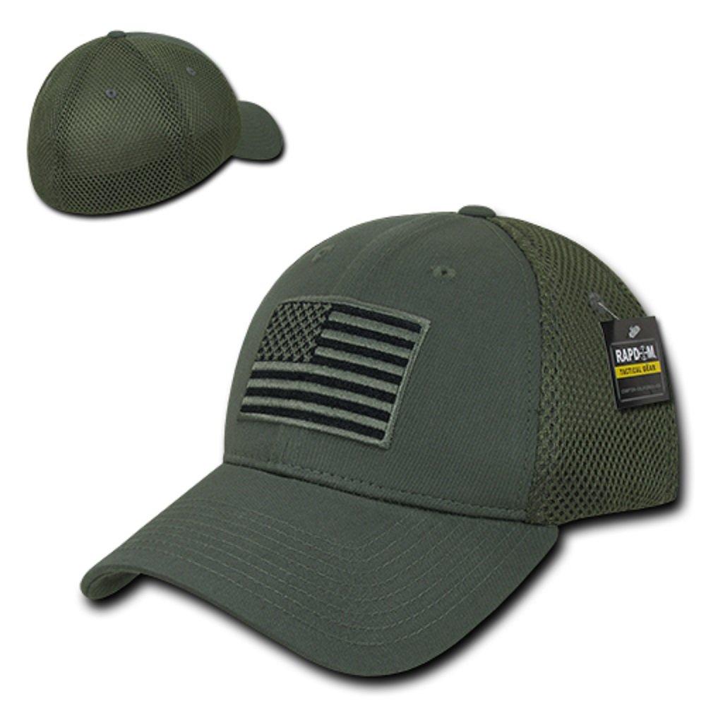 c4f2cf39da4 USA US American Flag Tactical Operator Mesh Flex Baseball Fit Hat Cap -  Black at Amazon Men s Clothing store