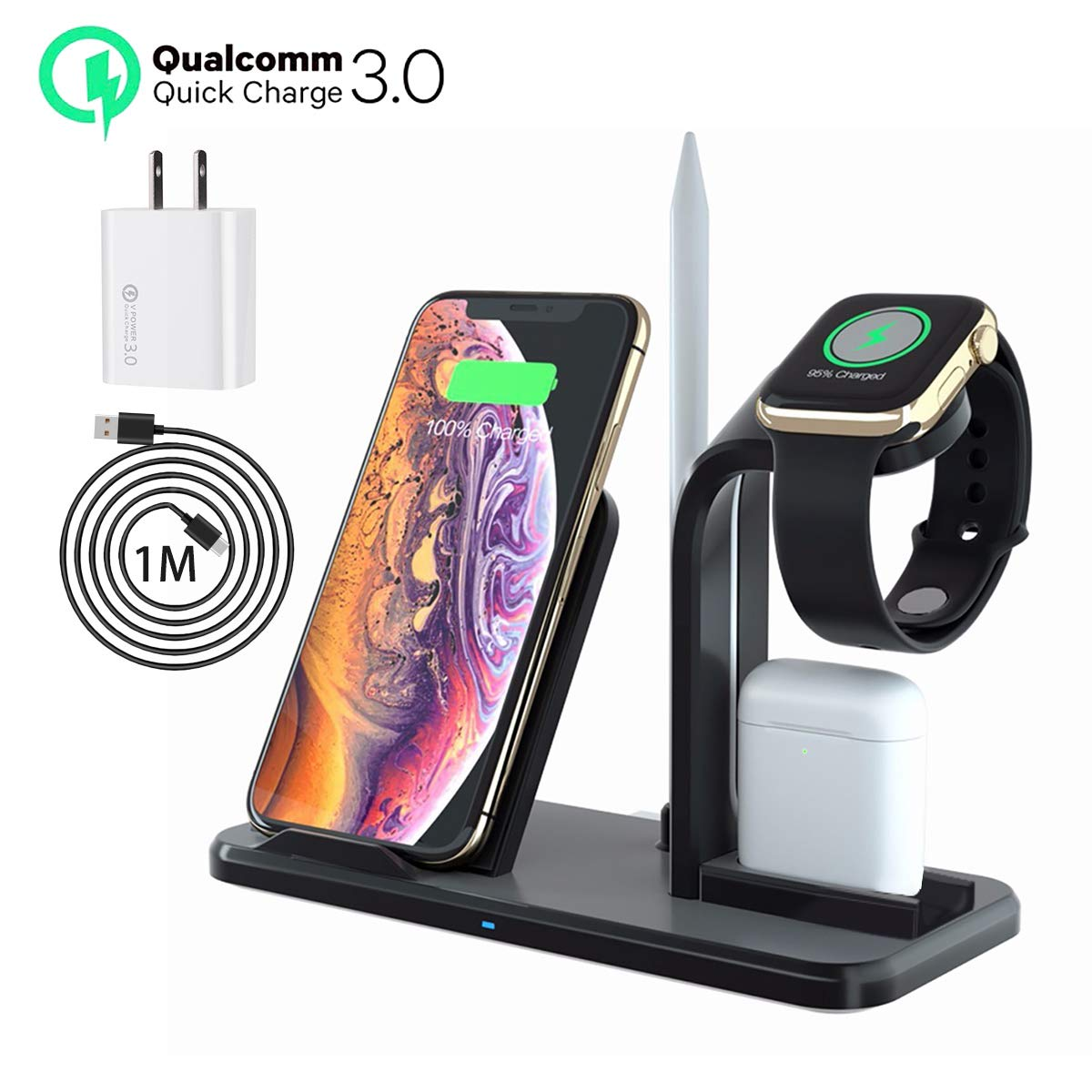 LA GUAPA Wireless Charger, Qi-Certified 10W Wireless Charging Station Stand Dock, Compatible with iPhone Wireless Charger iPhone 11/11 Pro/11Pro Max/XS Max/XR Galaxy Note 10+/S10+ Huawei P30 Pro