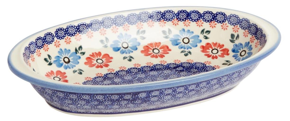 """Boleslawiec Polish Pottery Polish Pottery Blue Red Floral Oval Vegetable Serving Dish Bowl, 11.25""""L x 6.5""""W x 2""""H (Blue Red Oval)"""