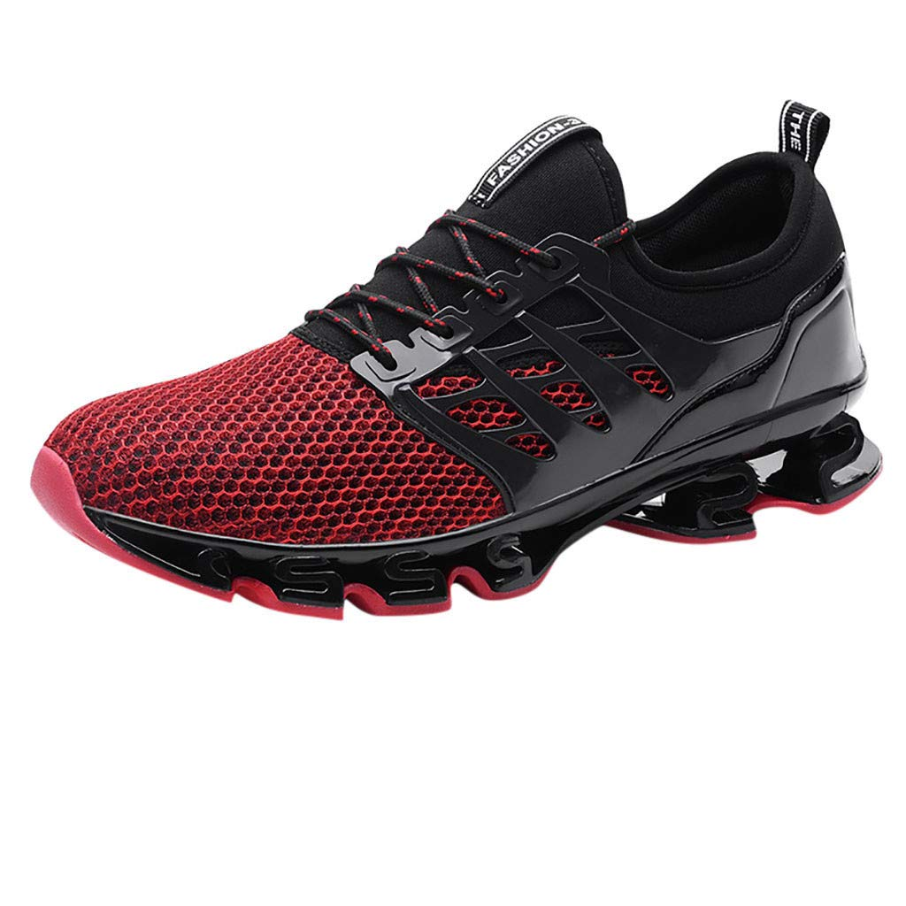 NUWFOR Couple Mesh Breathable Wear Running Shoes Outdoor Wild Sneakers Shoes(Red,7 M US Length:9.7'') by NUWFOR