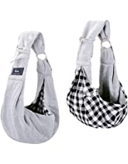 CUBY Reversible Pet Sling Carrier Hands-free Sling Pet Dog Cat Carrier Bag Soft Comfortable Puppy Kitty Rabbit Double-sided Pouch Shoulder Carry Tote Handbag (Grey)