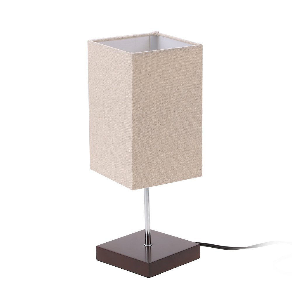 Tomshine Bedside Table Lamp Small Nightstand Lamps for Bedrooms Minimalist Solid Wood Desk Light with Square Fabric Shade for Living Room Coffee Dresser Table by Tomshine (Image #6)