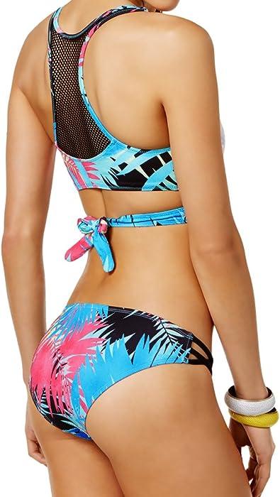 3ecf0f9cc3 Sundazed 2 Piece Bikini Set - Wrap Racerback Mesh Inset Cut Out Top    Strappy Side