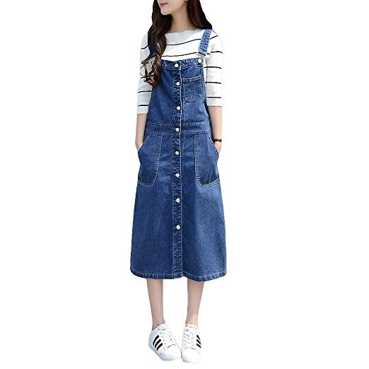 mewow Women\'s Front Button Casual Long Suspender Skirt Denim Overall Dress  Plus Size
