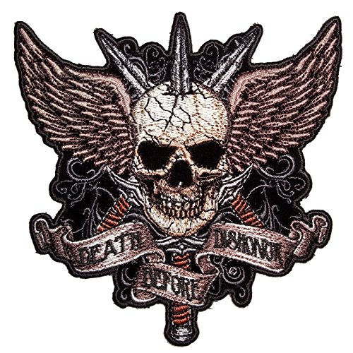 SKULLS BONES WINGS EMBROIDERED PATCH 11.5 INCH BIKER PATCH