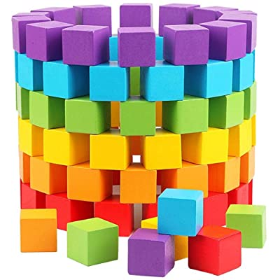 ZLWPH Puzzle Wooden Blocks for Children-Color Cube Blocks Early Childhood Education DIY Toys, Each Set of 100: Home & Kitchen