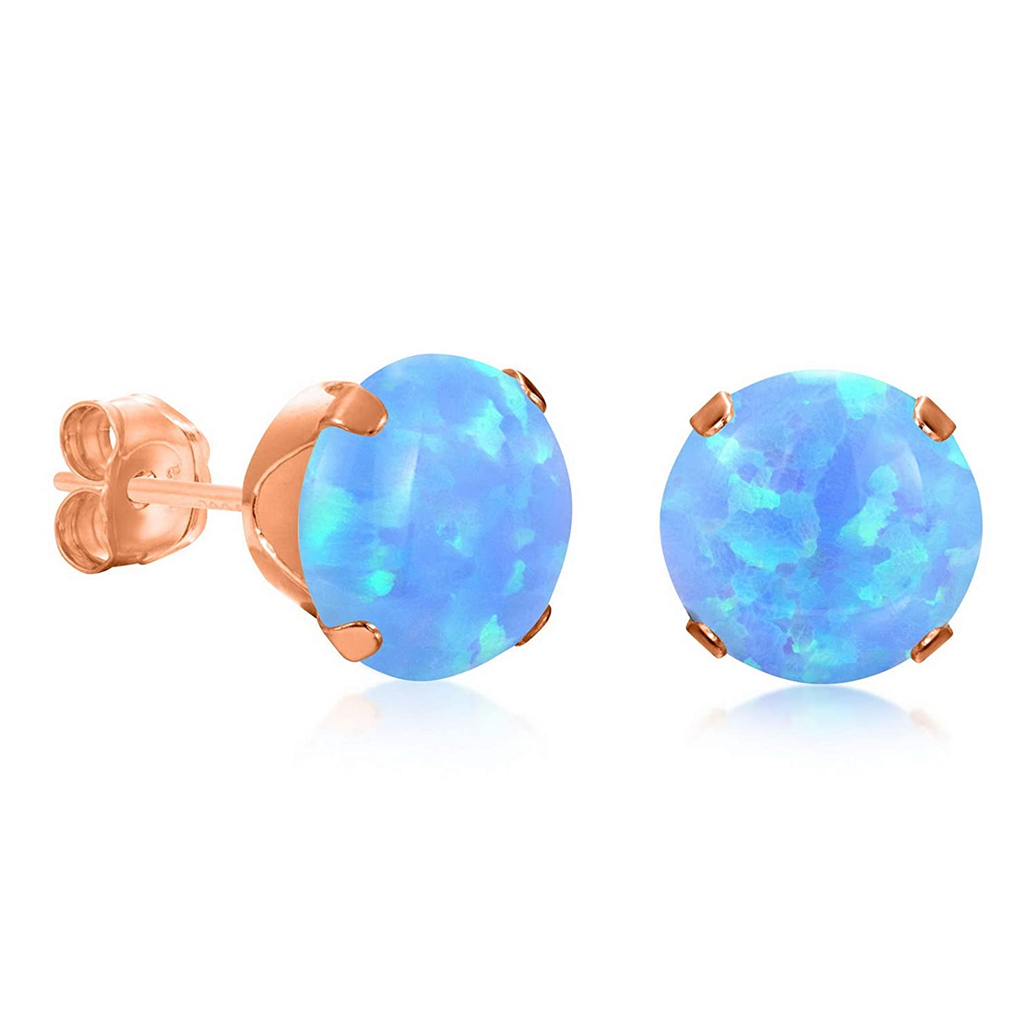 13392 Campton Round Blue Simulated Opal Stud Earring Rose Gold Plated Sterling Silver 925 Extra Large 7mm Model ERRNGS
