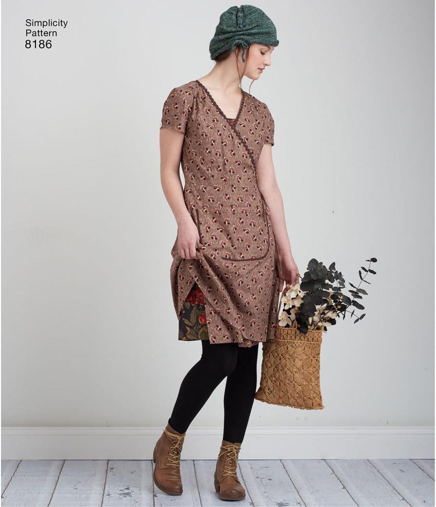 Wrap /& Slip Dress Bianco Simplicity Pattern 8186/Misses Dottie Angel Frock