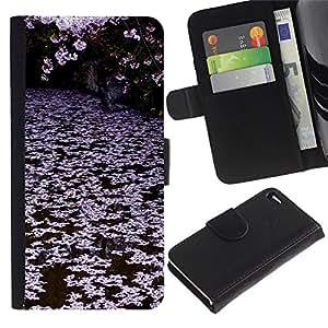 KingStore / Leather Etui en cuir / Apple Iphone 4 / 4S / Árboles Lago Rosa Blanco;