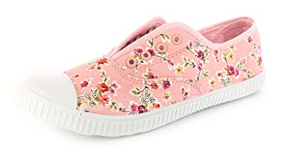 7f918d0d1275 Girls Childrens Floral Canvas Slip On Pumps with Eyelet Detail - Pink - UK  Size 13