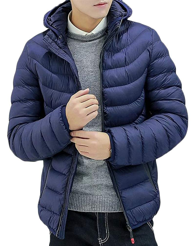 P/&E Mens Quilted Zipper Padded Hoodid Down Casual Jacket Parka Coat