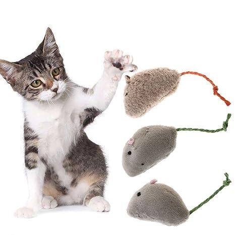 Yanhonin 3pcs Juguetes para Gatos – Peluche ratón Rata Squeaky Teaser Juguete – Gato Interactive Juguetes