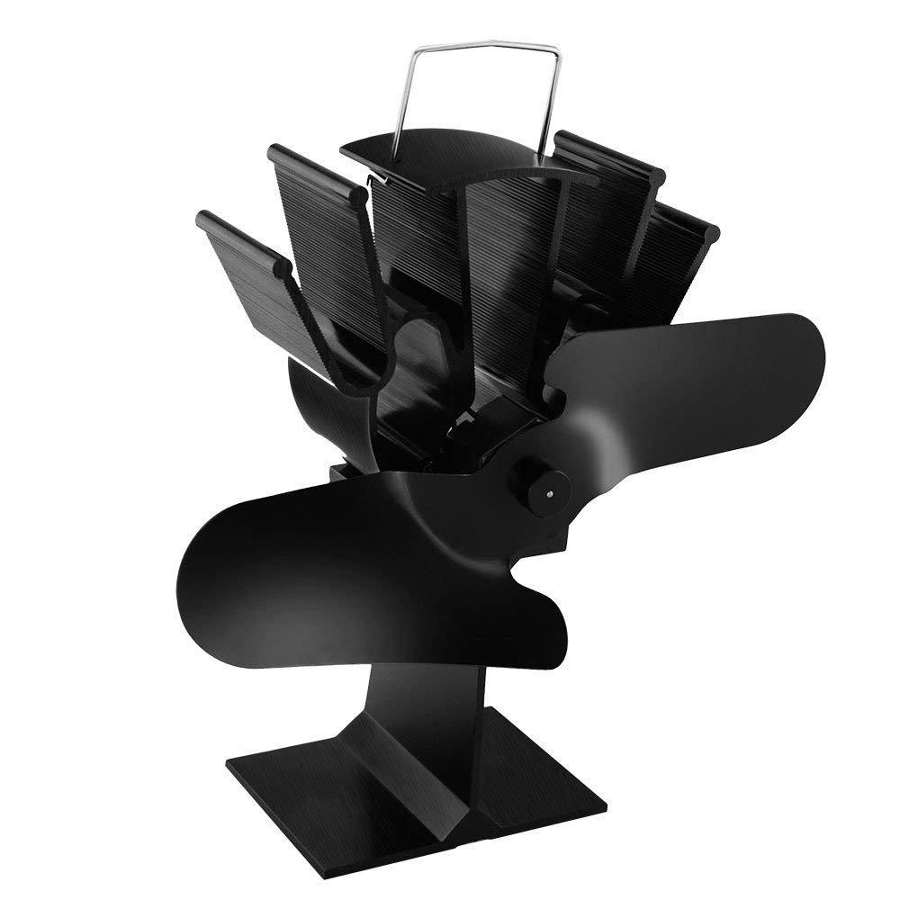 e-more alimentazione calore ventola della stufa fan-silent, alimentazione calore legno/tronchi –  eco friendly circolazione di calore per camini, nero alimentazione calore legno/tronchi-eco friendly circolazione di calore per camini