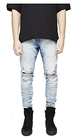 Longbida Men's Ripped Slim Fit Skinny Destroyed Distressed Tapered Leg Jeans by Longbida