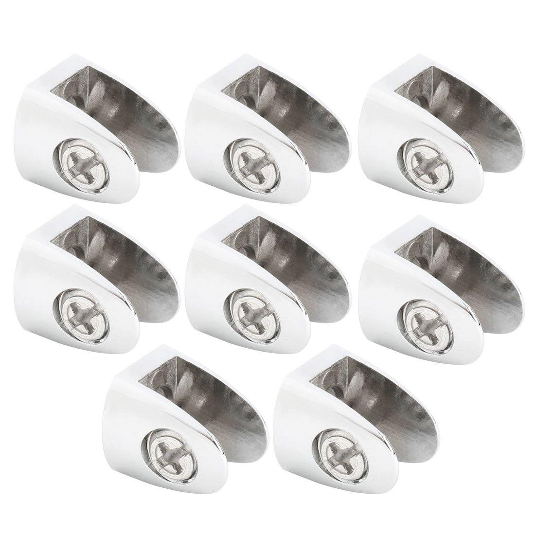 uxcell Zinc Alloy Home Door Glass Shelf Clamp Brackets Fixing Clips Holder Support 8pcs