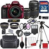 Nikon D3400 DX-format Digital SLR (Red) w/AF-P DX NIKKOR 18-55mm f/3.5-5.6G VR Lens & Tamron 70-300mm f/4-5.6 Di LD Macro Autofocus Lens + Professional Accessory Bundle