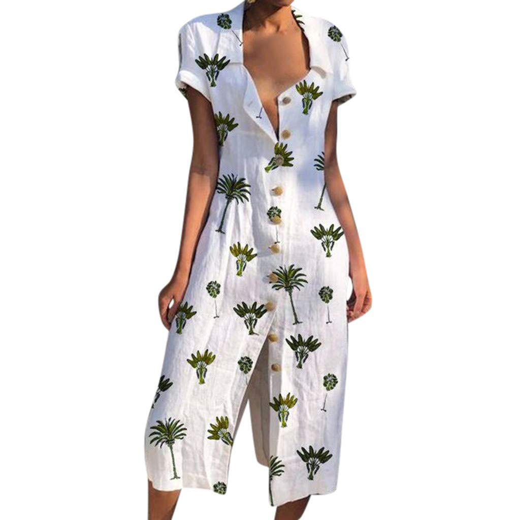 PENGY Dress Fashion Women/'s Sundress Boho Collar Floral-Print Dresses Elegant Gown Casual and Loose Dress Leopard