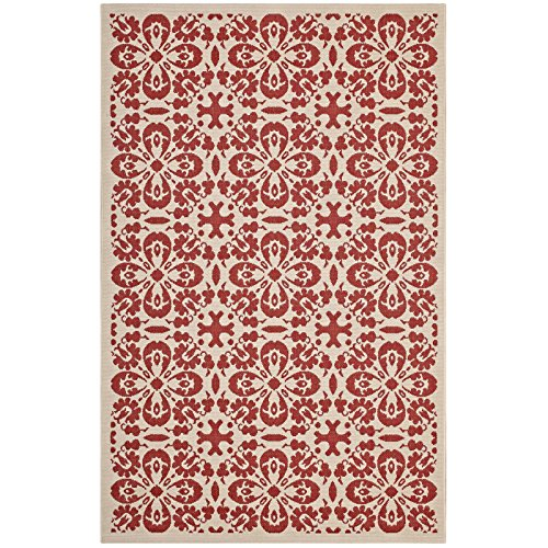 Modway R-1142D-58 Ariana Vintage Floral Trellis Indoor and Outdoor Area Rug, 5X8, Red and Beige