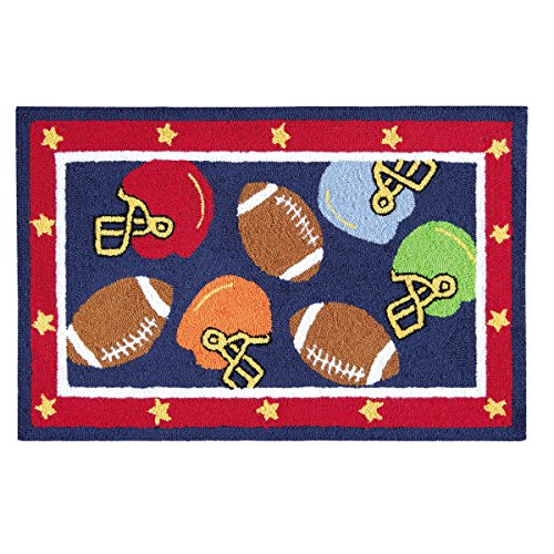 C&F Home Hooked Football Sport Rug, Blue ()