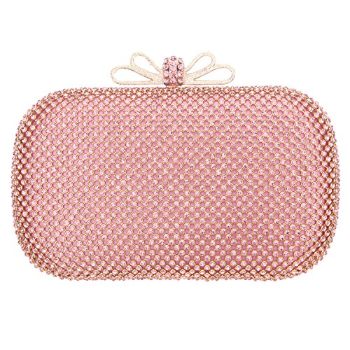 Fawziya Bow Purse For Women Box Rhinestone Crystal Clutch Evening Bags-Pink