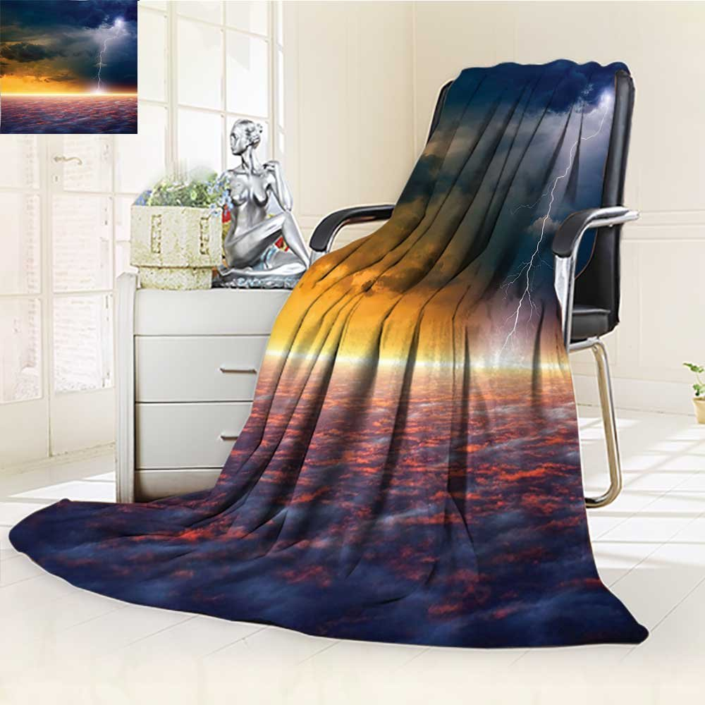 YOYI-HOME All Season Super Soft Cozy Duplex Printed Blanket Sky View End of The World Majestic Mystic Sky Solar Flames Image Orange Blue from for Gift Blanket s/W59 x H86.5