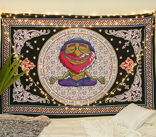Popular Handicrafts New Launched Tapestry Wall Hanging Yoga Tapestry Hippie Mandala Gypsy Meditation Room Décor, Yog Guruji in Traditional Print Tapestries Black Purple Red