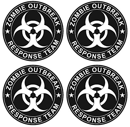 4 Pack of Black Biohazard Zombie Outbreak Response Team Biohazard 3M Vinyl Decal Stickers - 4 Inches Round