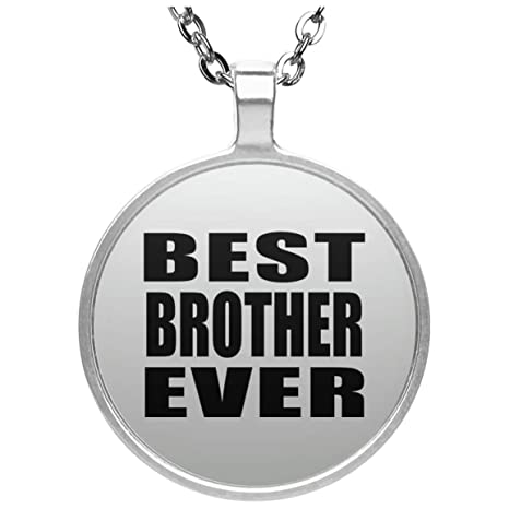 Amazon Best Brother Ever Round Necklace Silver Plated