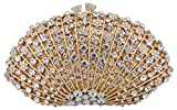 Mossmon Crystal Clutch Women Luxury Rhinestone Evening Bag (Gold)