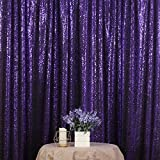 3e Home 4FT x 7FT Sequin Photography Backdrop Curtain for Party Decoration, Purple